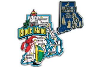 Jumbo & Small State Map Magnet Set - Rhode Island
