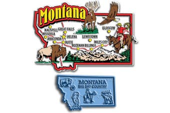 Jumbo & Small State Map Magnet Set - Montana
