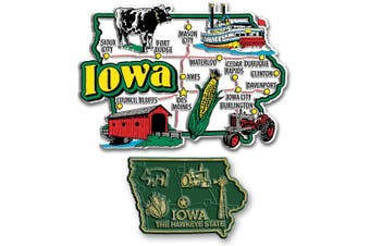 Jumbo & Small State Map Magnet Set - Iowa