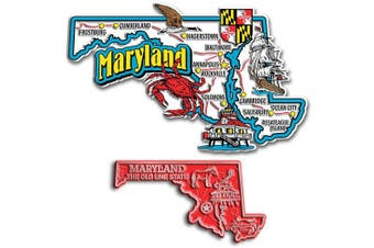 Jumbo & Small State Map Magnet Set - Maryland