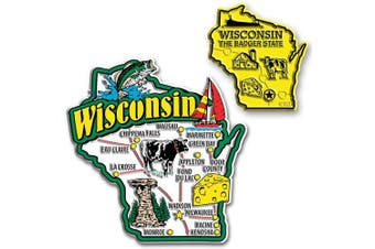 Jumbo & Small State Map Magnet Set - Wisconsin