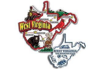 Jumbo & Small State Map Magnet Set - West Virginia