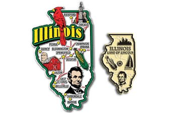 Jumbo & Small State Map Magnet Set - Illinois