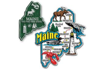 Jumbo & Small State Map Magnet Set - Maine