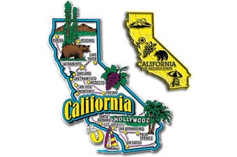Jumbo & Small State Map Magnet Set - California