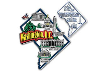Jumbo & Small State Map Magnet Set - Washington, D.C.