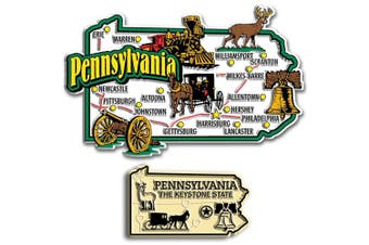 Jumbo & Small State Map Magnet Set - Pennsylvania