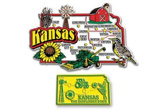 Jumbo & Small State Map Magnet Set - Kansas