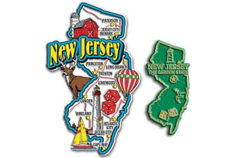 Jumbo & Small State Map Magnet Set - New Jersey