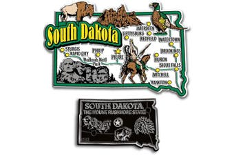 Jumbo & Small State Map Magnet Set - South Dakota