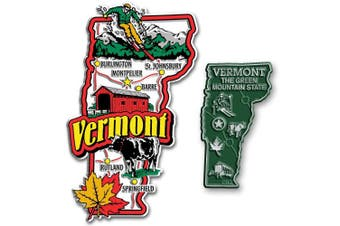 Jumbo & Small State Map Magnet Set - Vermont