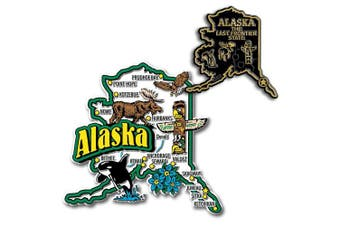 Jumbo & Small State Map Magnet Set - Alaska
