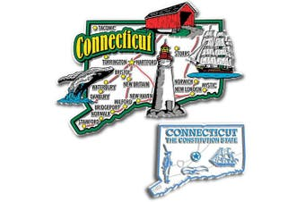 Jumbo & Small State Map Magnet Set - Connecticut