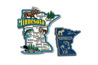 Jumbo & Small State Map Magnet Set - Minnesota