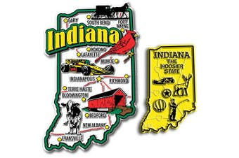 Jumbo & Small State Map Magnet Set - Indiana