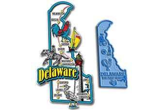 Jumbo & Small State Map Magnet Set - Delaware
