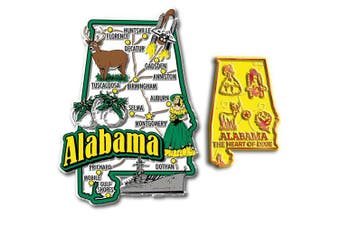 Jumbo & Small State Map Magnet Set - Alabama