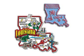 Jumbo & Small State Map Magnet Set - Louisiana