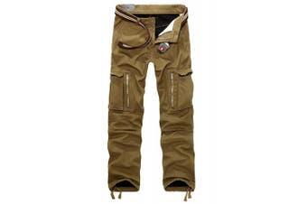 (32W x 32L, dark khaki) - AYG Mens Warm Cargo Trousers Polar Fleece Thickened Cargo Camo Pants Combat Wiast 29-40