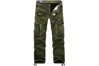 (30W x 31L, Army Green) - AYG Mens Warm Cargo Trousers Polar Fleece Thickened Cargo Camo Pants Combat Wiast 29-40