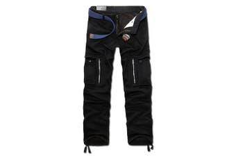 (38W x 33L, Black) - AYG Mens Warm Cargo Trousers Polar Fleece Thickened Cargo Camo Pants Combat Wiast 29-40