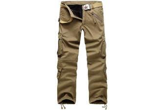 (33W x 32L, Khaki#022) - AYG Mens Warm Cargo Trousers Polar Fleece Thickened Cargo Camo Pants Combat Wiast 29-40