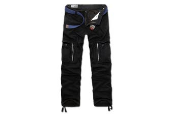 (32W x 32L, Black) - AYG Mens Warm Cargo Trousers Polar Fleece Thickened Cargo Camo Pants Combat Wiast 29-40