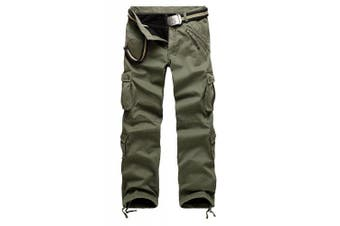 (33W x 32L, Army Green#022) - AYG Mens Warm Cargo Trousers Polar Fleece Thickened Cargo Camo Pants Combat Wiast 29-40