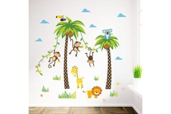 ElecMotive Cartoon Forest Animal Monkey Crow Koala Coconut Palm Tree Nursery Wall Stickers Wall Murals DIY Posters Vinyl Removable Art Wall Decals for Kids Girls Room Decoration (Monkey Lion Giraffe)