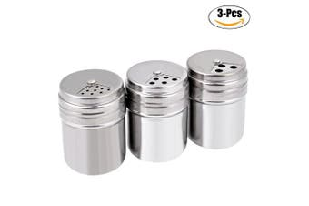 (# 1) - Seasoning Bottle, Outgeek 3Pcs Spice Bottle Airtight Seasoning Bottle with Top Rotatable Shaker Kitchen Gadget (Silver) (spice jars) (# 1)