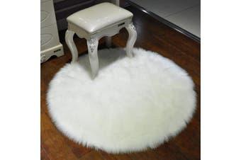 (Diameter 1.2m, White) - Round Faux Fur Sheepskin Rugs, Soft Shaggy Area Rug Home Decorative Bedroom Fluffy Carpet Rug, Diameter 1.2m, White
