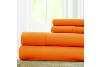 (California King, Orange) - Amrapur Overseas | 1800 Series 100 GSM 4 Piece Solid Microfiber Sheet Set (Paradise Orange, California King)
