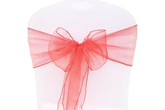 (Red, 100PCS) - BITFLY 7inch x 108inch 100pcs Organza Chair Cover Sashes Bow Wider Wedding Party Banquet 18 x 275cm 30Colours(Red)