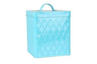 (Small Canister with Cover, Turquoise) - Home Basics Tin Kitchen Food Storage Organisation Canister Collection (Small Canister with Cover, Turquoise)