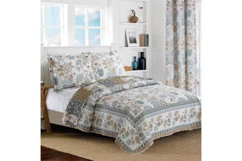 (Twin Size, Blue & White) - All American Collection New Reversible 2pc Floral Printed Blue/White Bedspread/Quilt Set (Twin Size)
