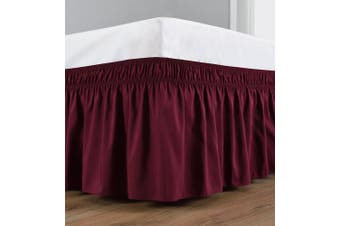 (Queen, Burgundy) - Wrap Around Bed Skirt Elastic Dust Ruffle, Easy Fit Wrinkle and Fade Resistant Solid Colour Fabric (Queen, Burgundy)
