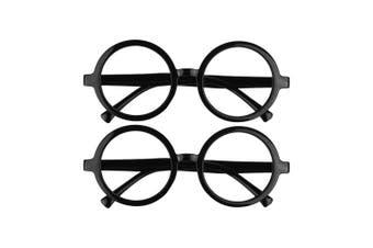 BCP 2 Pieces Plastic Wizard Glasses Round Glasses Frame No Lenses for Costume Party Supplies Black Colour