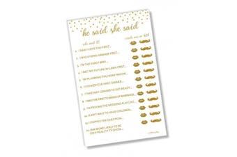 He Said She Said Bridal Shower Game - Gold Confetti (50-sheets)