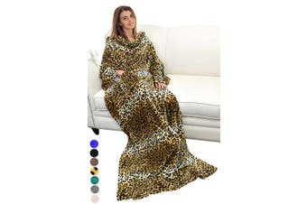 (Cheetah) - Catalonia Platinum Blanket with Sleeves, Ultra Plush Fleece Warm Blankets for Adult Women Men 185cm x 130cm, Cheetah