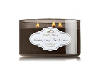 1 X Bath & Body Works White Barn Mahogany Teakwood Scented 3 Wick Candle 430ml/411 g
