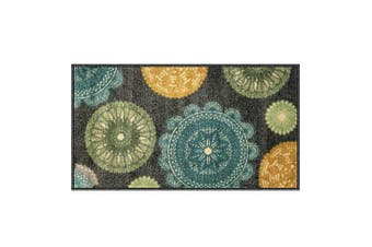 (1' x 2', Medallion) - Silk & Sultans Agathe Collection Contemporary Medallion Design, Pet Friendly, Non-Slip Doormat with Rubber Backing, 0.3mx0.6m Grey