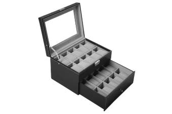 (20 Slots) - Watch Box for Men 20 Watch Display Case Organiser with PU Leather Watch Storage Case, Black