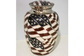 (Silver) - Cremation Urn - Funeral Urn for Human Ashes - Large Adult Size Burial Urn - 100% Brass - Silver American Flag Patriotic Hero