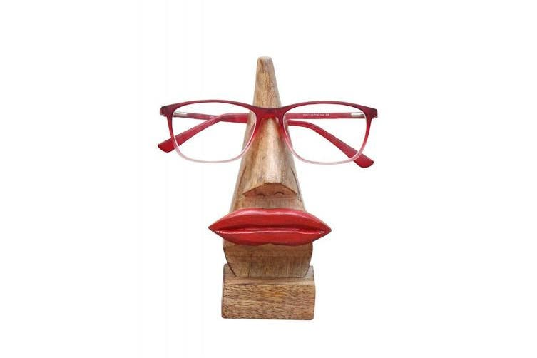 (Brown) - Quirky Wooden Nose Shaped Eyeglass Spectacle Holder Display Stand Home Decorative Store Indya Gifts