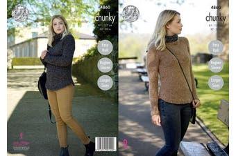 King Cole Ladies Chunky Knitting Pattern Womens Easy Knit Raglan Sleeve Sweaters (4860)