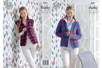 King Cole Ladies Chunky Knitting Pattern Womens Lacy Jacket & Waistcoat (4991)
