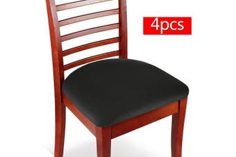 (4, Black) - Boshen Elastic Spandex Chair Stretch Seat Covers Protector for Dining Room Kitchen Chairs Stretchable 2 4 6PCS (Black, 4)