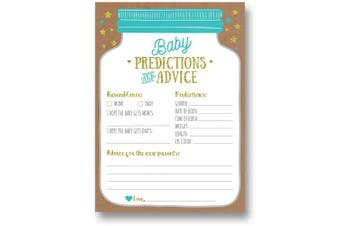 50 Mason Jar Baby Shower Prediction and Advice Cards - Gender Neutral Boy or Girl, Baby Shower Games Favours