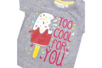 (0-3 Months, Grey) - BABY TOWN Baby Girls Printed T-Shirts (Multibuy Options) Cotton Rich Novelty Top