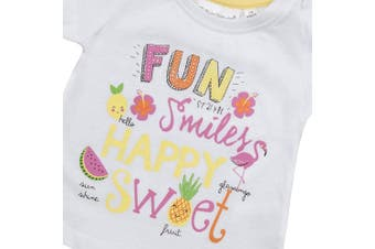 (0-3 Months, White) - BABY TOWN Baby Girls Printed T-Shirts (Multibuy Options) Cotton Rich Novelty Top